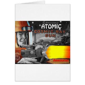 los años 50 negros y blancos del hombre atómico de tarjeta de felicitación