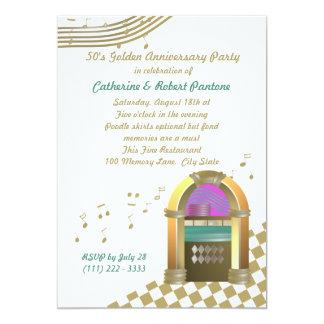 Los años 50 son de oro invitación 12,7 x 17,8 cm