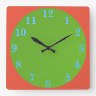 los años 50 verde y naranja reloj cuadrado