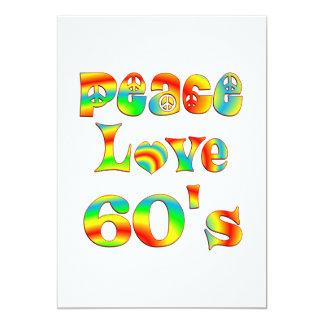 Los años 60 del amor de la paz invitación 12,7 x 17,8 cm