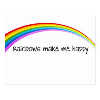 los arco iris me hacen feliz en color postal