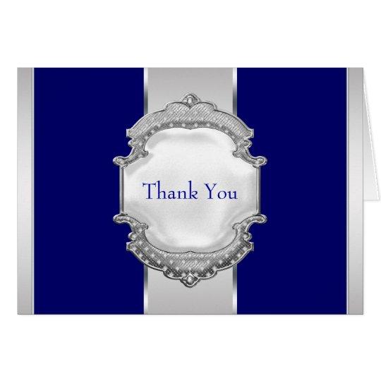 Los azules marinos y la plata le agradecen las tarjeta pequeña