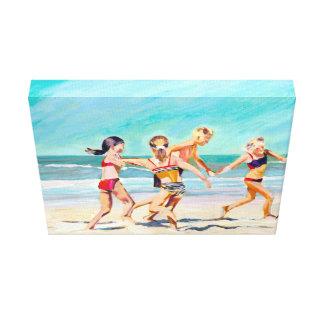 Los bailarines de la playa impresión en lienzo