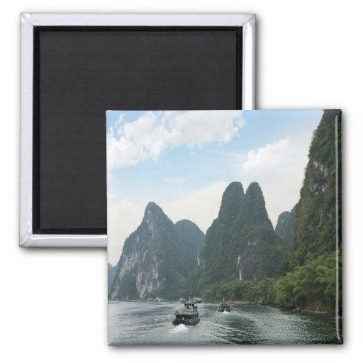 Los barcos de China, Guilin, río de Li, río alinea Iman De Nevera