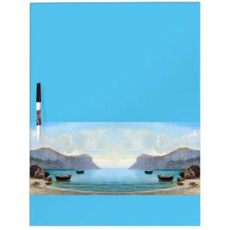 Los barcos de la playa del océano de Capri Italia Pizarra Blanca