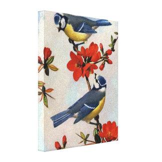 Los Bluebirds hermosos envolvieron arte de la lona