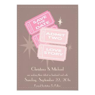 Los boletos de la película ahorran la tarjeta de invitación 12,7 x 17,8 cm