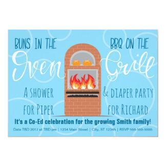 Los bollos gemelos en el Oven/BBQ en el Co-ed de Invitación 12,7 X 17,8 Cm