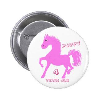 Los botones rosados del potro añaden el nombre, chapa redonda de 5 cm