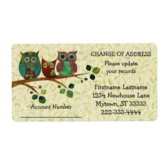 Los búhos caprichosos ponen al día su etiqueta de etiqueta de envío