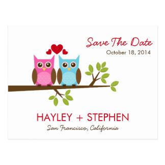 Los búhos del amor ahorran la tarjeta de fecha