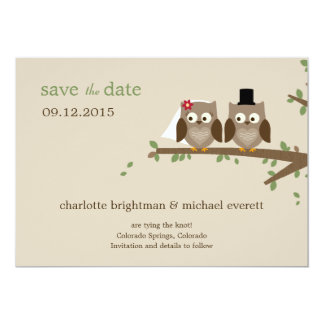 Los búhos del amor ahorran las invitaciones de invitación 12,7 x 17,8 cm