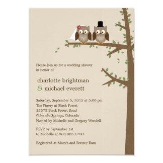 Los búhos del amor que casan la ducha/la cena del invitación 12,7 x 17,8 cm