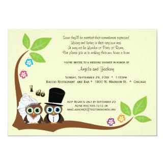 Los búhos del árbol de novia y del novio que casan invitación 12,7 x 17,8 cm