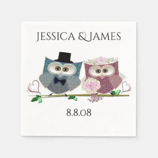 Los búhos del boda personalizan la servilleta de servilletas de papel