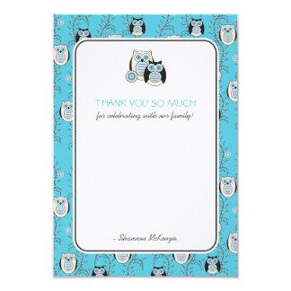 Los búhos del invierno le agradecen las tarjetas invitación 8,9 x 12,7 cm