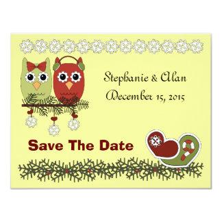 Los búhos del navidad ahorran la tarjeta de fecha invitación