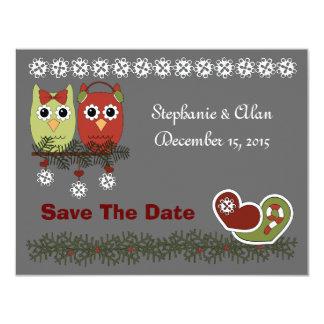 Los búhos del navidad ahorran las tarjetas de invitaciones personalizada