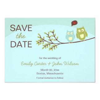 Los búhos lindos ahorran las invitaciones de la invitación 12,7 x 17,8 cm