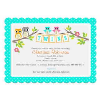 los búhos lindos hermanan la tarjeta de la invitación 12,7 x 17,8 cm