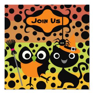 Los búhos, los gatos, y el fiesta de Halloween de Invitación 13,3 Cm X 13,3cm