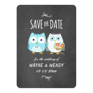 Los búhos que casan estilo de la pizarra ahorran invitación 12,7 x 17,8 cm