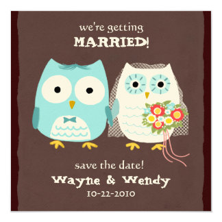 Los búhos que casan la novia y al novio ahorran la invitación 13,3 cm x 13,3cm