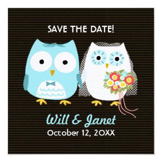 Los búhos que casan la novia y al novio - ahorre invitación 13,3 cm x 13,3cm