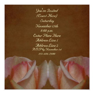 Los capullos de rosa rosados en el cuadrado invitación 13,3 cm x 13,3cm