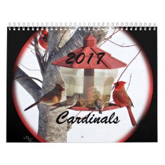 Los cardenales para 2017 - cambie el año según lo calendarios de pared