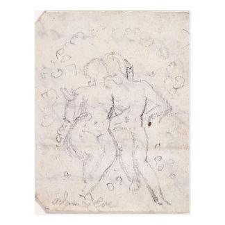 Los cariños de Adán y de Eva de Guillermo Blake Tarjeta Postal