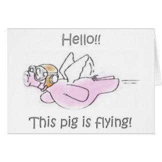 Los cerdos vuelan la tarjeta de nota