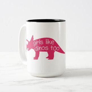 Los chicas tienen gusto de la taza de Dinos