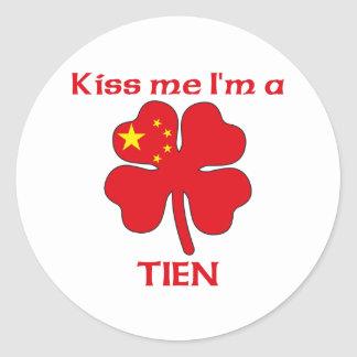 Los chinos personalizados me besan que soy Tien Pegatinas Redondas