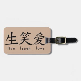 Los chinos viven muestra del amor de la risa etiquetas para maletas