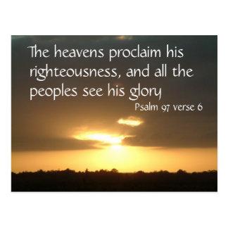 Los cielos declaran el salmo 97 v 6 del | postal