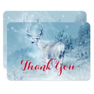 Los ciervos del invierno con los árboles de pino invitación 8,9 x 12,7 cm