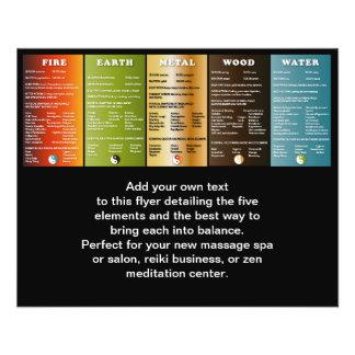 Los cinco elementos tarjetas publicitarias