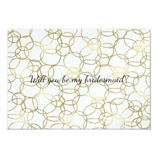 Los círculos del oro sean mi dama de honor invitación 8,9 x 12,7 cm