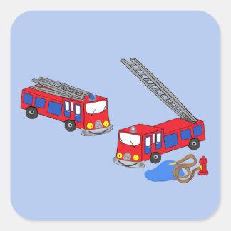 Los coches de bomberos rojos del bombero colcomanias cuadradass