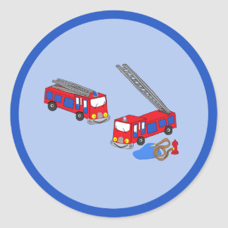 Los coches de bomberos rojos del bombero etiquetas