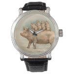 Los cochinillos toman un paseo - reloj del vintage