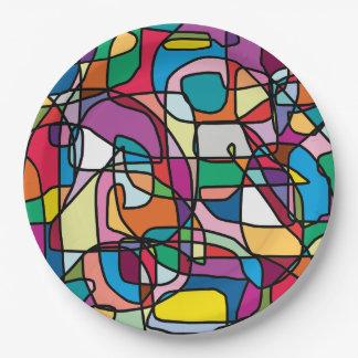 Los colores abstractos Doodle la placa de papel Plato De Papel