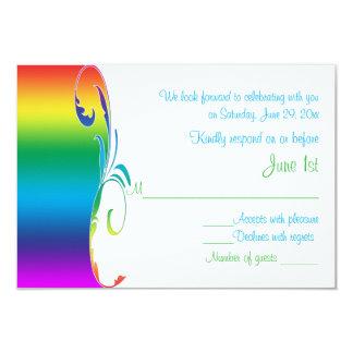 Los colores del arco iris enrollaron la tarjeta de invitación 8,9 x 12,7 cm