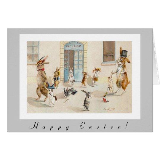 Los conejos antropomorfos dirigen a casa de tarjeta de felicitación