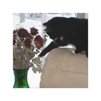 Los controles del gato del smoking hacia fuera lienzo