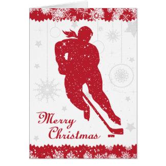 Los copos de nieve rojos de las mujeres del hockey tarjeta