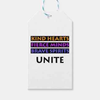 Los corazones buenos, mentes feroces, las bebidas etiquetas para regalos