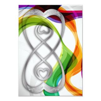 Los corazones de RSVP doblan el infinito y las Invitación 8,9 X 12,7 Cm