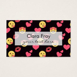 los corazones dulces lindos del amor del emoji tarjeta de negocios